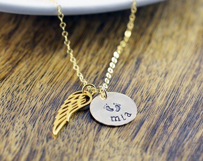 Personalized Wing Necklace - Remembrance Jewelry - Guardian Angel Wing Necklace -Child Loss Necklace - Infant Loss Necklace - Gold Necklace