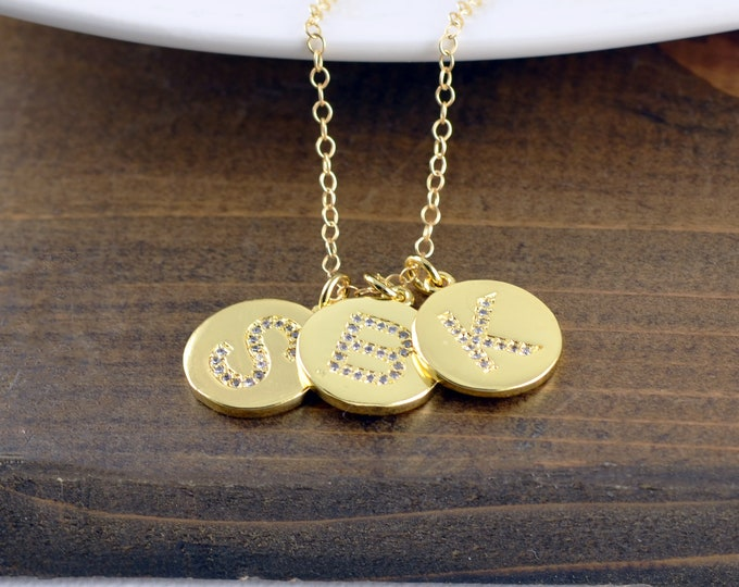 Gold Letter Necklace, Initial Necklace, Monogram Necklace, Personalized Necklace, CZ Letter Charm, Personalized Jewelry, Alphabet