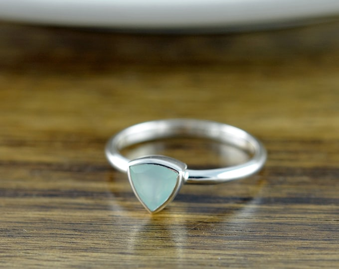 Sterling Silver Trillion Aqua Chalcedony Ring - Boho Ring - Gemstone Ring - Gem Ring - Gemstone Jewelry - Solitaire Ring - Stackable Ring