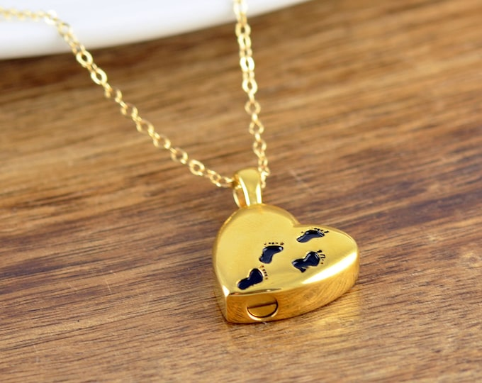 Gold Baby Feet Necklace, Cremation Urn, Memorial Necklace, Cremation Jewelry, Loss of Child Gift, Ash Jewelry, Cremation Necklace