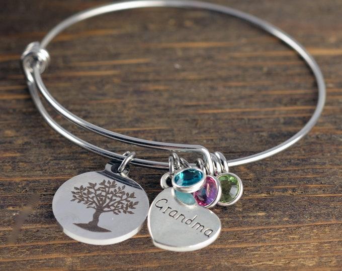 Grandma Bracelet, Personalized Grandma Jewelry, Nana Gift, Gift for Grandmother, Gift for Grandma, Grandmother Gift, Grandma Gift