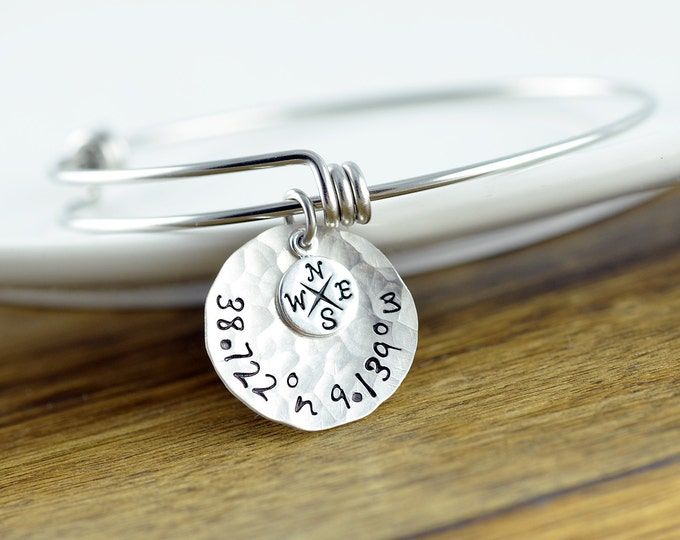 Silver Coordinate Bracelet, Coordinate Jewelry, GPS Coordinates, Coordinates Gift, Coordinate Bracelet, Friend Gift, Christmas Gift for Her
