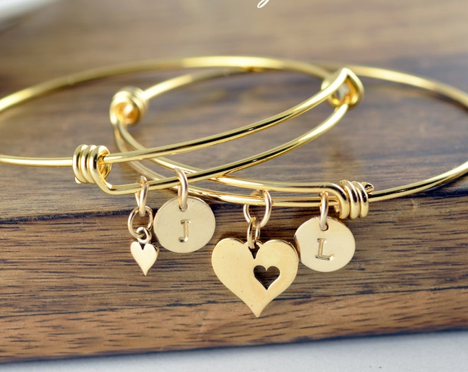 Bracelet Set, Mother Daughter Gift, Mother Daughter Bracelet, Gold Initial Bracelet, Mother Daughter Jewelry, Mothers Day from Daughter