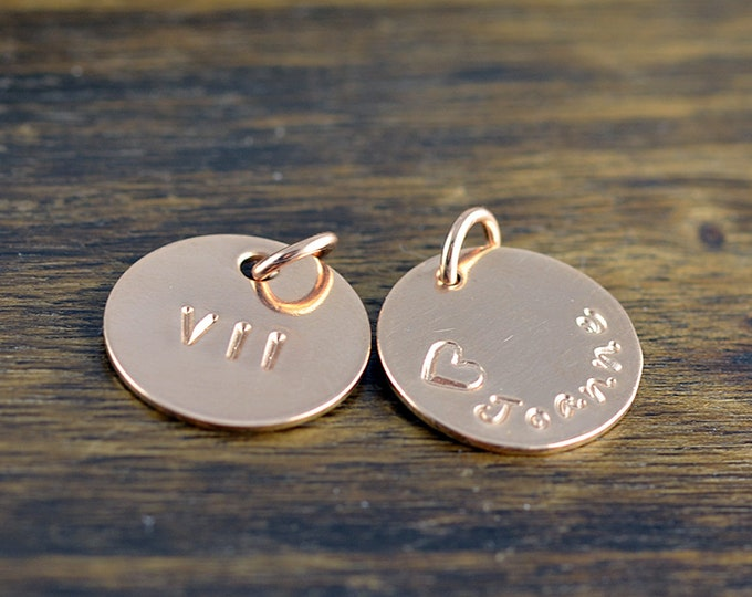 Rose Gold Name Charm, Personalized Name, Add A Charm, Hand Stamped Rose Gold Filled Disc