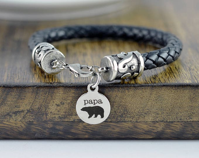New Dad Gift, Father's Day Gift, Gifts For Daddy, Papa Bear, Personalized Fathers Day Gift, Papa Bear Bracelet, Engraved Bracelet for Men