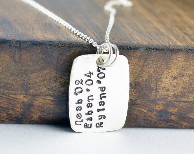 Personalized Sterling Silver Dog Tag Necklace, Hand Stamped Dog Tag Necklace, Mothers Day Gift, Name Necklace, Gift for Women, Gift for Mom