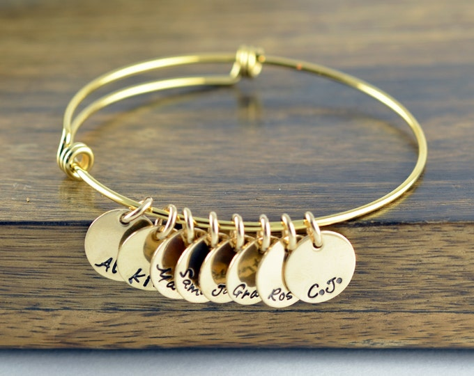 Hand Stamped Bangle Bracelet - Mothers Jewelry - Mother Bracelet - Grandmother Gift - Gold Bangle Bracelet - Name Bracelet - Mother's Gift