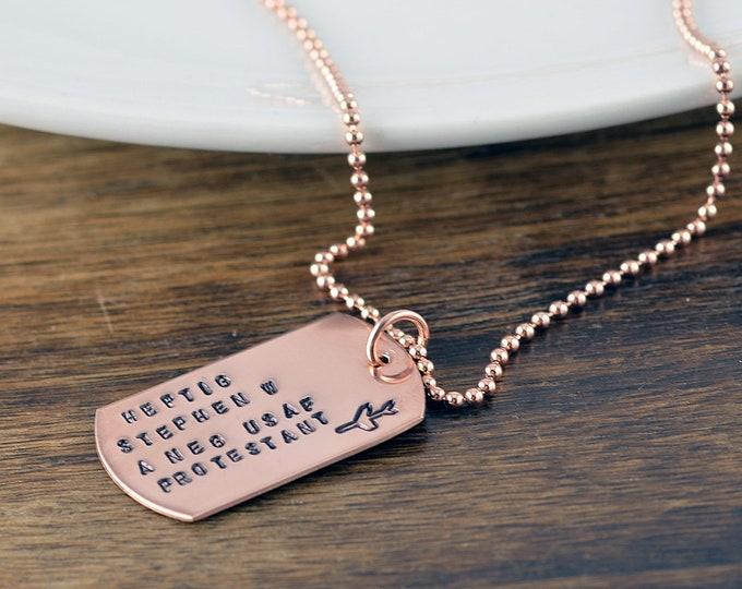 Rose Gold Dog Tag Necklace, Mens Necklace, Womens Necklace, Unisex Jewelry, Mens Gift, Mens Jewelry, Dog Tag Necklace, Dog Tag Jewelry