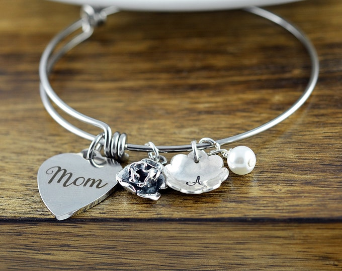 Personalized Bangle, Gifts for Mom, Mothers Day Gift, Mother Bracelet, Mother Daughter Gift, Mother of The Bride Gift, Mother Birthday