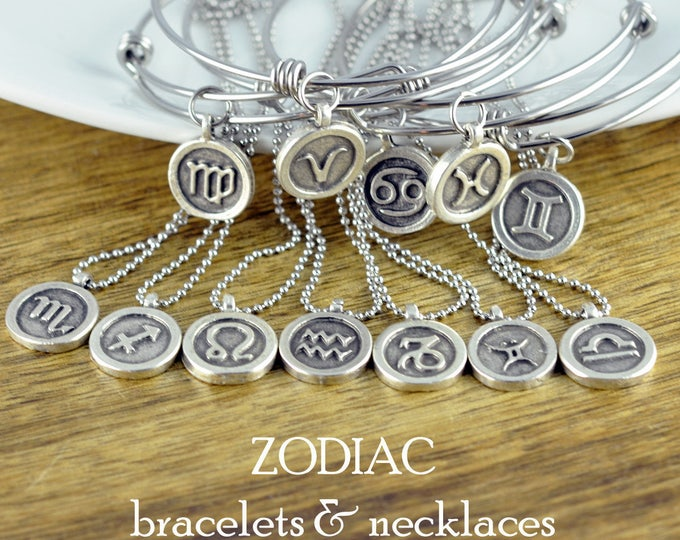 Zodiac Necklace - Horoscope Necklace - Zodiac Gift - Zodiac Charm Pendant - Zodiac Jewelry - Astrological Jewelry - Charm Necklace