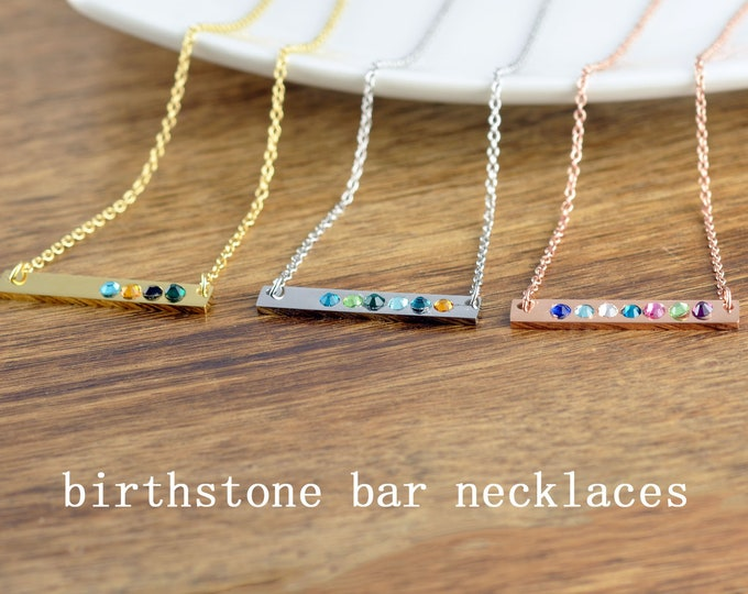 Bar Necklace with Birthstone, Birthstone Necklace for Mom, Mother's Necklace, Birthstone Necklace, Birthstone Jewelry, Grandmother Necklace