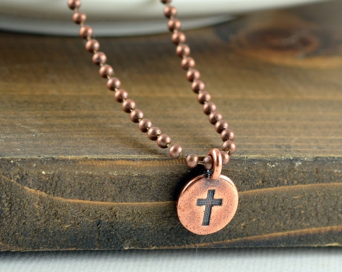 Mens Cross Necklace - Copper Cross Necklace - Mens Cross Necklace - Cross Necklace - Gift for Men - Mens Gift - Christian Gifts
