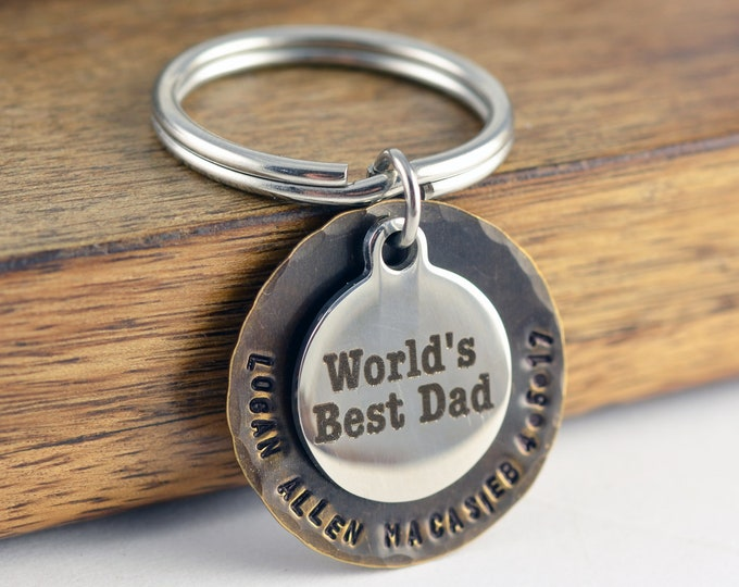 Father's Day Gift, Birthday Gift for Dad, Personalized Keychain for Dad, Mens Keychain, Dad Gift, Worlds Best Dad, Engraved Keychain