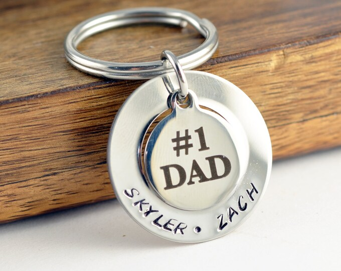 Personalized Fathers Day Keychain, #1 Dad Keychain,  Personalized Father's Day Gift, Custom Keychain, Kids Names,Dad gift, Engraved Keychain