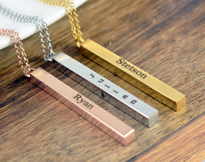 Vertical Bar Necklace, 4 sided Bar Necklace, Personalized Bar Necklace, Mothers Necklace, Engraved Necklace, Gift for Mother, Mom Jewelry