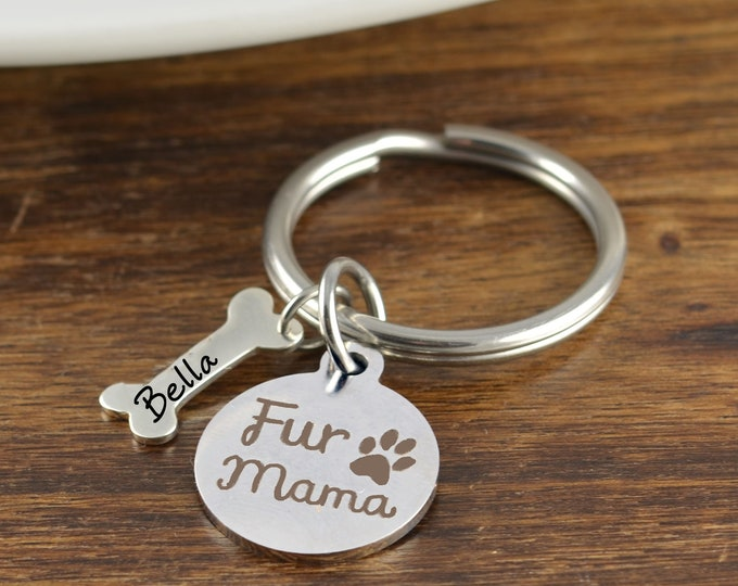 Fur Mama Keychain, Pet Keychain, Dog Lover Keychain ,Dog Mama Dog Mommy Mom of Dogs Fur Baby Fur Parents Gift for Dog Lover