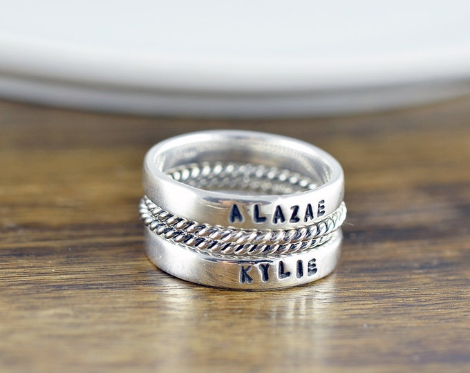 Stackable Name Rings - Personalized Stacking Ring - Gift for Mom -  Name Rings  - Mothers Jewelry - Mothers Ring