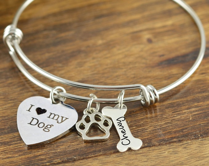 Dog Paw Bracelet, Dog Paw Jewelry, Dog Mom Gift, Personalized Name Bracelet, Personalized Charm Bracelet, Dog Paw Charm, Gift for Her