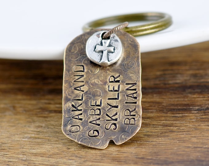 Personalized Keychain for Men, Personalized Keychain, Hand Stamped Mens Keychain, Mens Gifts, Gift for Husband, Religious Keychain