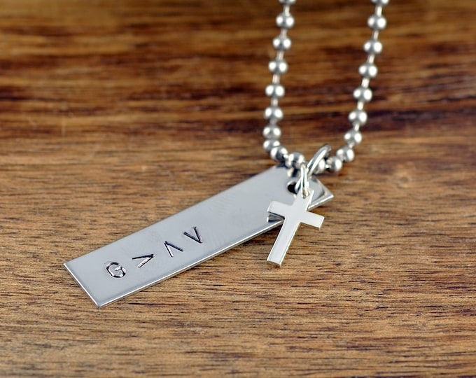 Mens Jewelry, Mens Gift, Personalized Tag Necklace,Boyfriend Gift, Gifts for Him, God Is Greater Necklace, Religious Gift