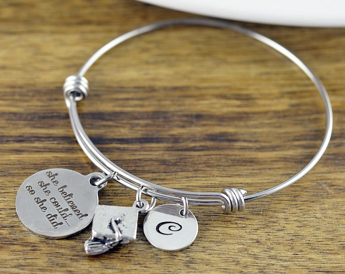 She Believed She Could, Graduation Gift, Personalized Graduation Bracelet, Class of 2017, High School Graduation, College Graduation