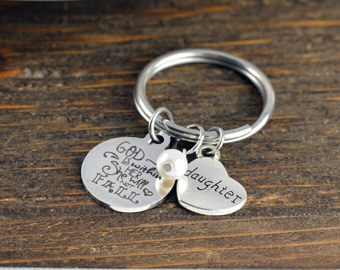 God is within her She will not Fall, Scripture Jewelry,Psalm 46:5, Scripture Gift, Christian Jewelry, Religious Gift, Religious Keychain