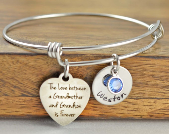 The Love Between A Grandmother and Grandson Is Forever Bracelet, Gift for Grandmother, Gift for Grandma, Grandmother Gift, Grandma Gift
