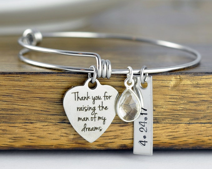 Mother Of The Bride Gift - Gift For Mother In Law - Groom Mother Gift - Thank You For Raising The Man Of My Dreams Bracelet  - Wedding Gift