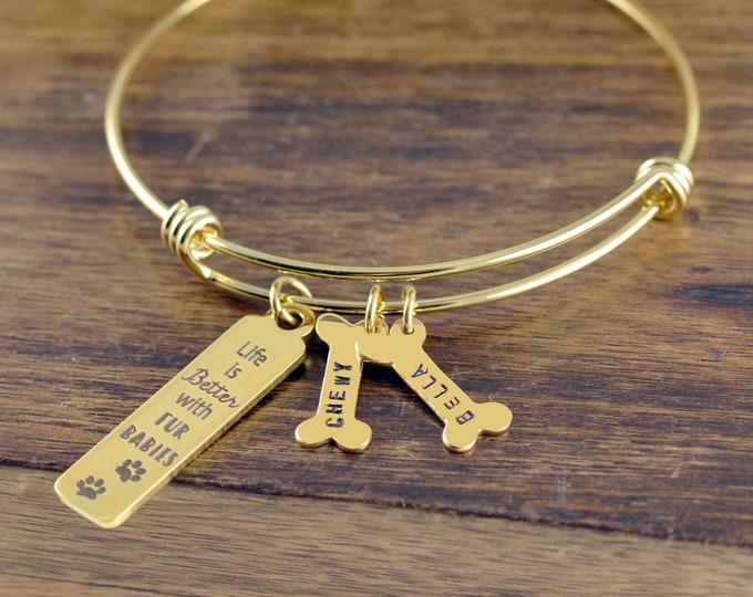 Personalized Gold Bracelet, Dog Lover Gift, Dog Mom Gift, Dog Paw Jewelry, Dog Jewelry, Dog Lover Gift Personalized, Dog Lover Jewelry