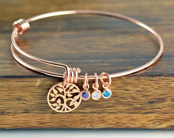 Rose Gold Family Tree Bracelet - Mother's Birthstone Bracelet - Tree of Life Bracelet - Family Tree Jewelry - Grandmother Gift, Gift for Mom
