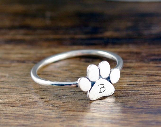 Dog Paw Initial Ring, Dog Paw Jewelry, Dog Paw Ring, Initial Jewelry, Personalized Ring, Dog Lover Gift, Dog Loss Gift, Gift For Her