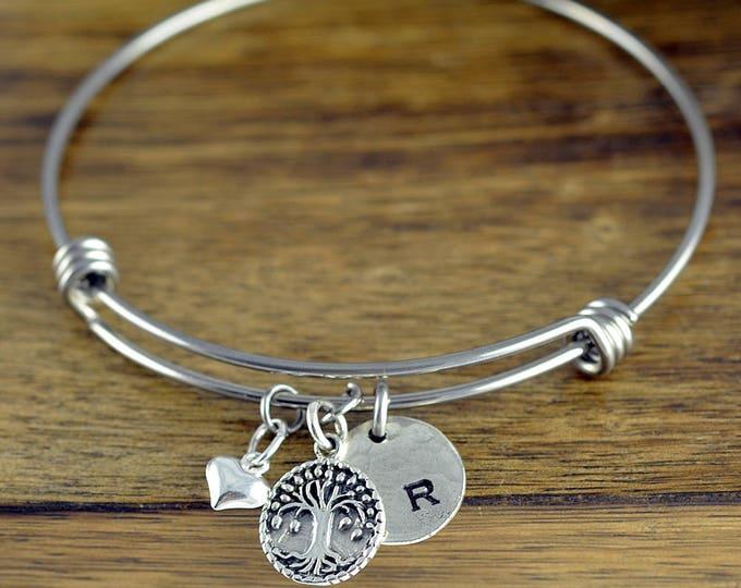 Family Tree Bracelet - Personalized Initial Bracelet - Personalized Hand Stamped Bracelet - Mothers Day Gift - Tree Of Life Bracelet