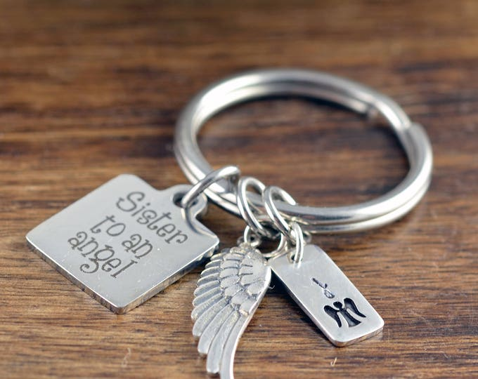Sister To An Angel KeyChain - Memorial Keychain, Remembrance Jewelry, Bereavement Gift, Sympathy Gift, Loss of Loved One, Loss of Sister
