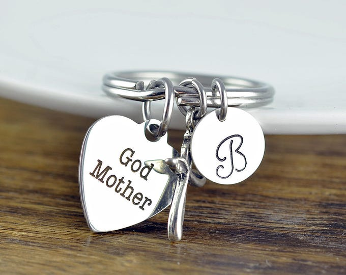 God Mother Keychain, God Mother Gift, Baptism Gift, Will You Be My Godmother, Godmother Proposal, Religious Keychain, Religious Gift