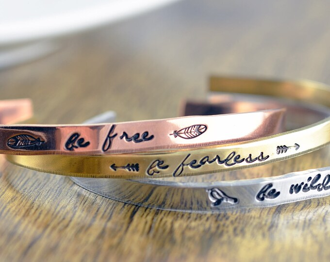 Inspirational Bracelet, Cuff Bracelet, Personalized Cuff, Inspirational Jewelry, Engraved Bracelet, Inspirational Gifts,Gift for Her