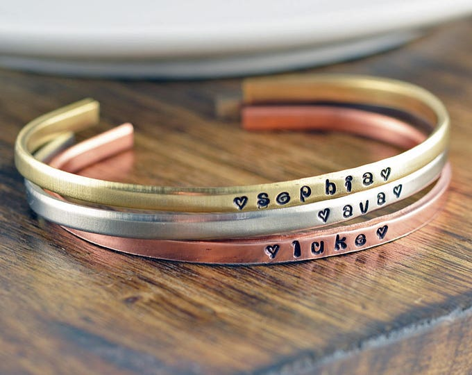 Personalized Name Bracelet, Gift for Mom, Children's name Bracelet, Custom Name Bracelet, Personalized Cuff Bracelet, Mothers Day Gift