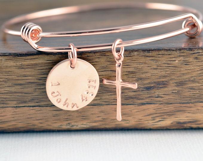 Womens bracelet personalized, Bible verse bracelet, religious jewelry, christian jewelry, communion bracelet, Rose Gold Cross Bracelet