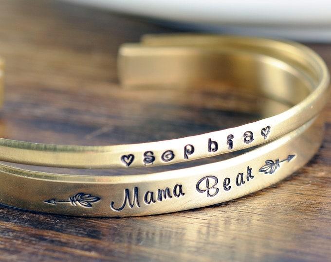 Mama Bear, Custom Cuff Bracelet, Personalized Cuff Bracelet, Mothers Bracelet, Mommy Jewelry, Kids Name Bracelet, Mothers Day Gift