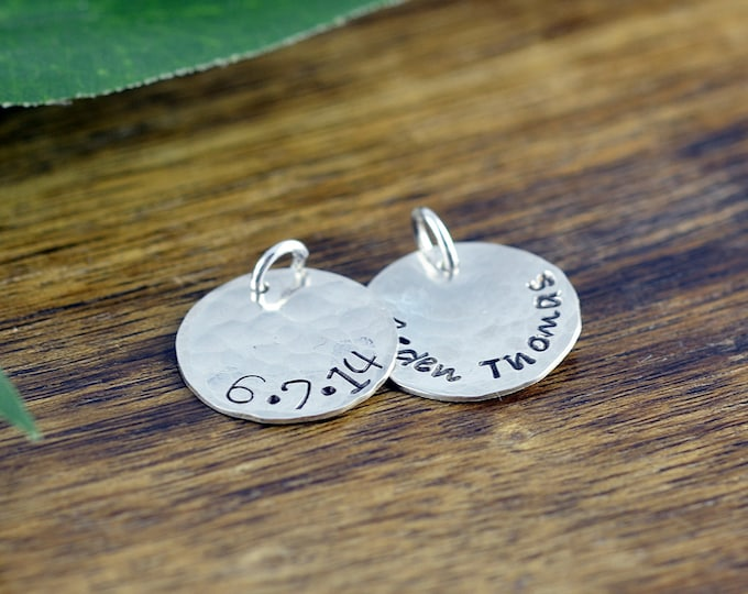 Sterling Silver Name Charm, Personalized Name, Add A Charm, Hand Stamped Sterling Silver Disc