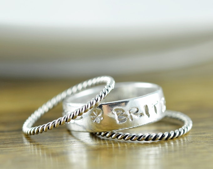 Stackable Mothers Ring - Sterling Silver Stacking Rings - Personalized Hand Stamped Ring - Mom Ring - Gifts for Mom - Mom Jewelry