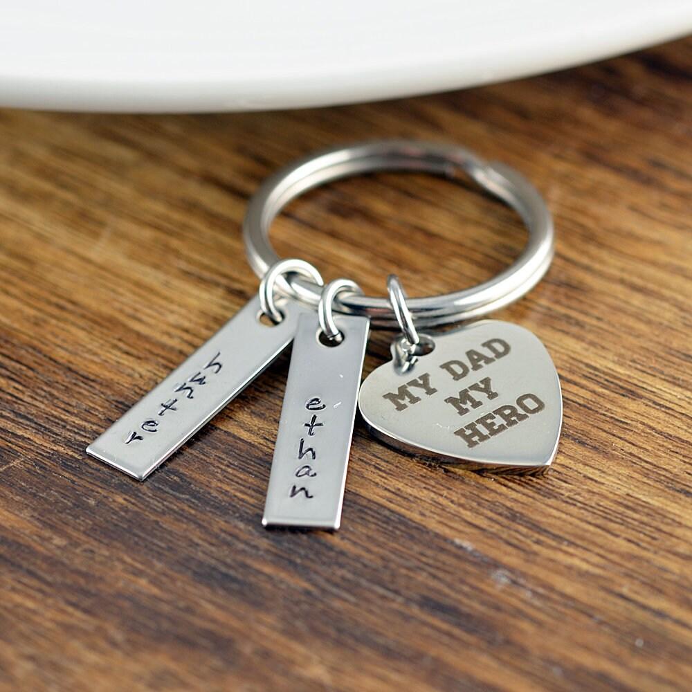 My Dad My Hero Keychain Dad Keychain Father Keychain My Dad My