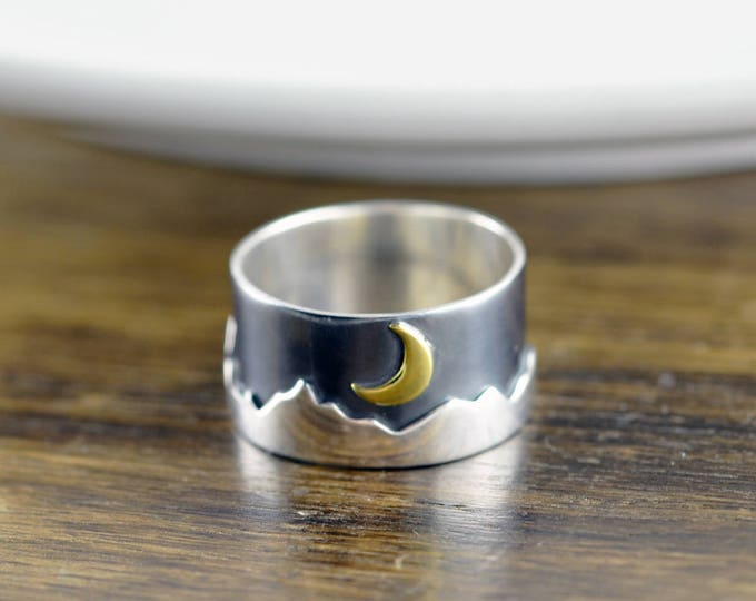Sterling Silver Mountain Ring - Mountain Ring - Nature Jewelry - Mountains Jewelry - Forest Ring - Wilderness Ring - Mountain Climber