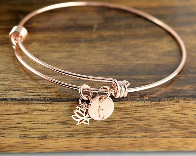 Rose Gold Lotus Bangle - Lotus Flower Bracelet -  Initial Bracelet - Lotus Charm - Lotus Jewelry - Yoga Bracelet - Yoga Jewelry, Yoga Lovers