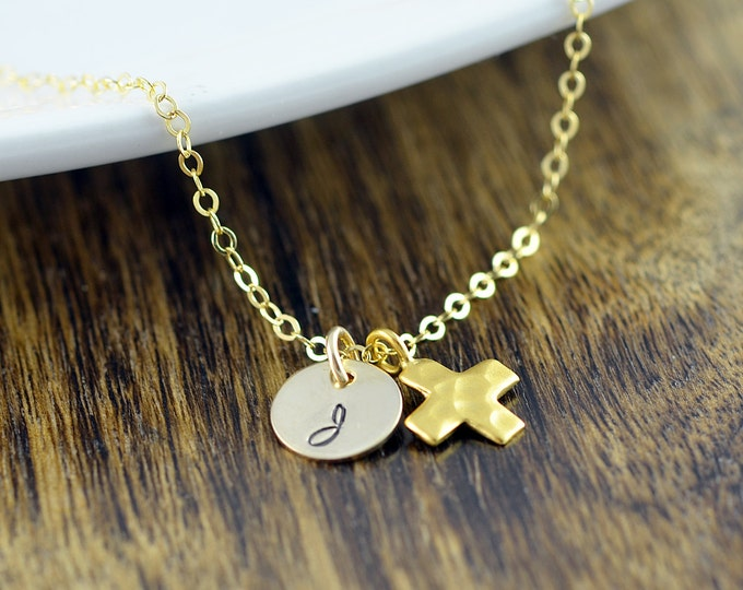 Personalized Gold Necklace - Hammered Cross Necklace - Cross Necklace Women, Initial Necklace, Cross Pendant, Religious Gift