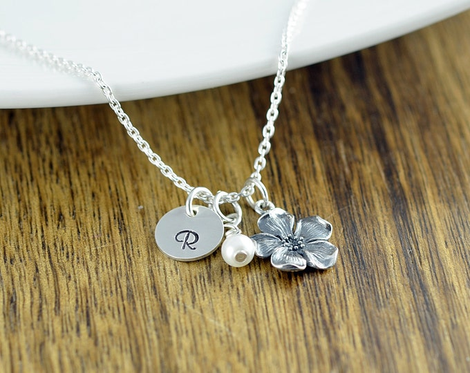 Silver Cherry Blossom Necklace - Flower Necklace - Sterling Silver Flower Charm - Flower Jewelry - Personalized Necklace, Initial Charm