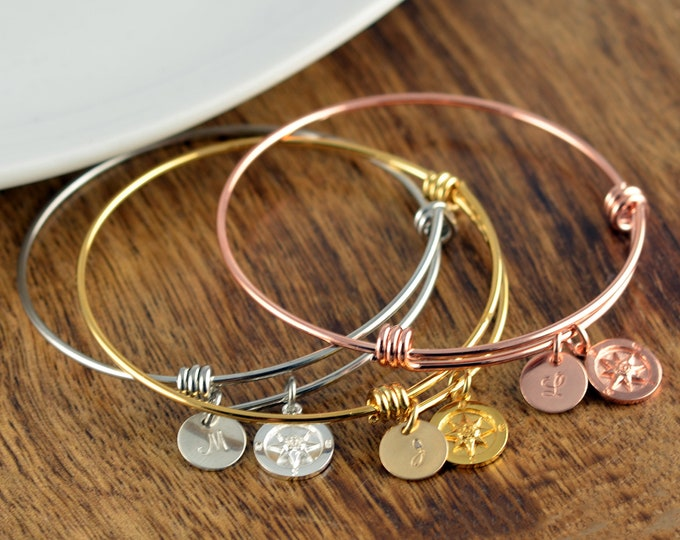 Womens Gift, Coordinate Bracelet, Latitude Longitude Bracelet, Custom Coordinates, Coordinate Jewelry, Rose Gold Gold Silver, Compass Charm