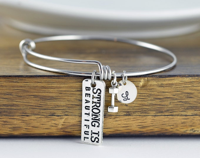 Personalized Fitness Bracelet, Strong Is Beautiful Bangle Bracelet, Motivational Jewelry, Crossfit Lover, Fitness Gifts, Fitness Jewelry
