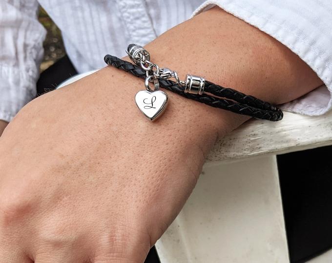 Cremation Bracelet, Leather Cremation Urn Bracelet for Ashes, Memorial Bracelets, Cremation Bracelet for Women, Cremation Heart Bracelet