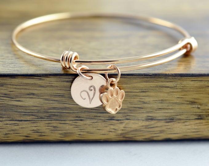 Dog Paw Bracelet, Dog Paw Jewelry, Dog Mom Gift, Personalized Initial Bracelet, Personalized Rose Gold Bracelet, Dog Paw Charm, Gift for Her