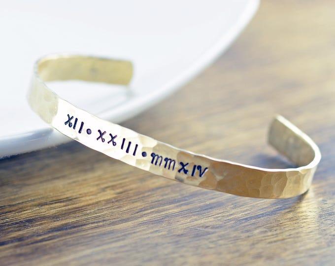 Custom Bracelet - Roman Numeral Bracelet - Gold Cuff Bracelet - Personalized Cuff - Personalized Jewelry, Christmas Gifts for Her